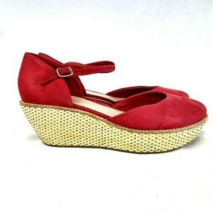 Camper Damas Women Sz 11 41 Red Suede Wedge 216-22